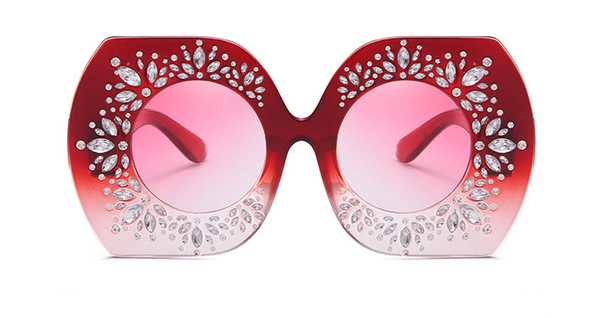 Slay Accessories.  Red Ombre crystal embellished oversized sunglasses.