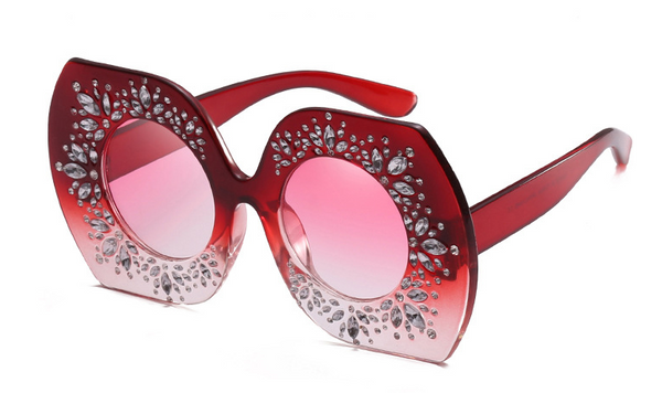 Slay Accessories.  Ombre crystal embellished oversized sunglasses.