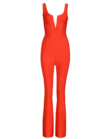 Slay Accessories. Red bandage flare leg jumpsuit.