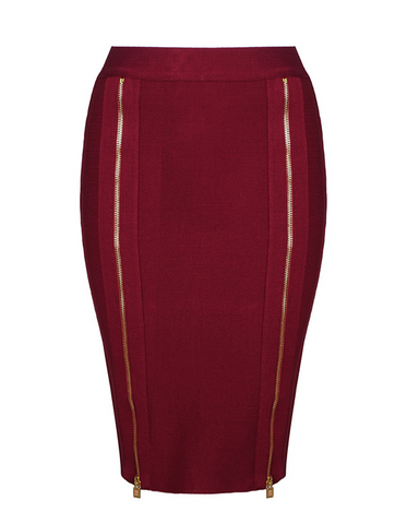 Slay Accessories. Red pencil skirt accented with two long front zippers.