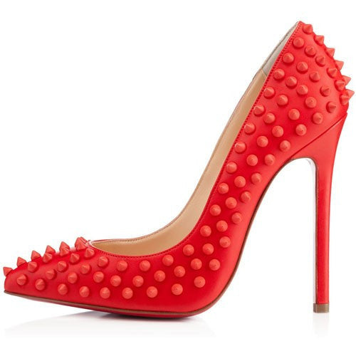 Gwen Red Spike Patent Leather Pumps