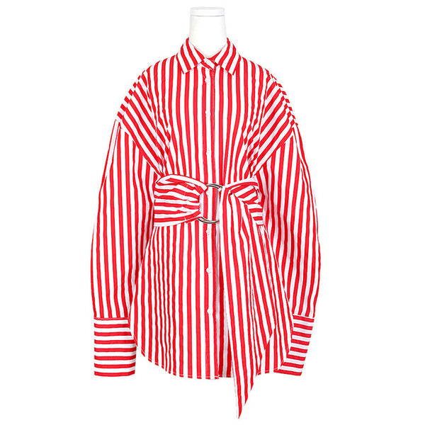 Slay Accessories. Red and white stripe long shirt with waist sash. Women's modern long stripe shirt.