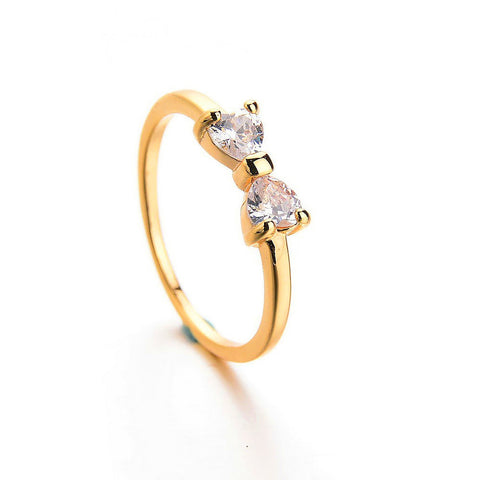 cubic Zircon bow ring 18kt gold plated