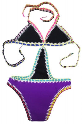 Roxie Purple Crochet Neoprene Monokini
