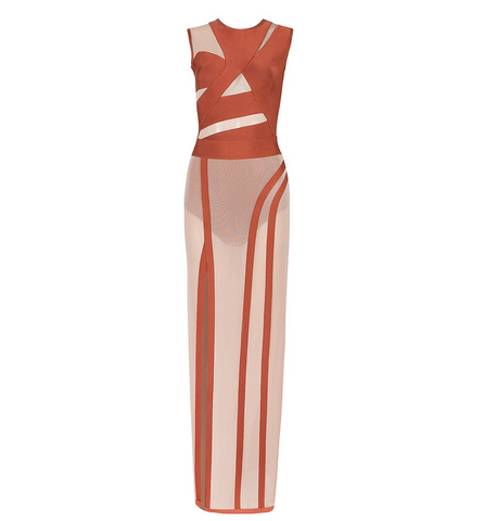 Slay Accessories rust color bandage and sheer bodysuit with sheer maxi skirt.