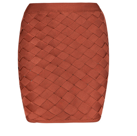 Slay Accessories. Rust woven lattice bandage skirt.