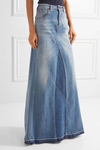 Slay Accessories. Denim maxi skirt.