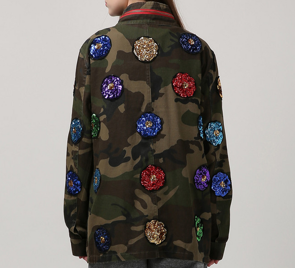 Slay Accessories. Camouflage sequin patchwork jacket. Camouflage patchwork jacket.