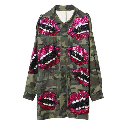 Slay Accessories sequin patchwork camouflage jacket.