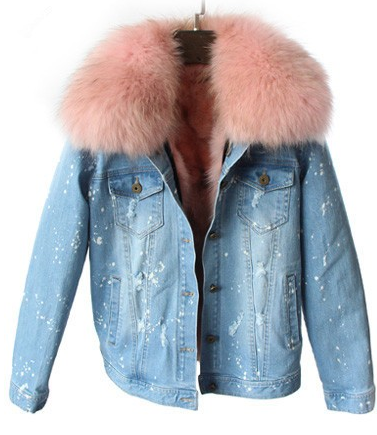 Slay Accessories. Distressed denim jacket pink trim collar and fur lining.