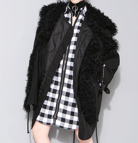 Slay Accessories. Black parka coat with sheep fur collar. Fur parka. Black luxury parka.