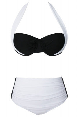 Shelly Black and White High Waist Bikini