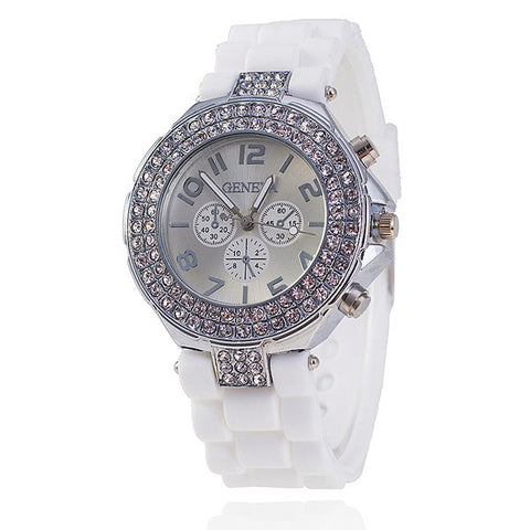 Fashion Colored Silicon Link Band Watch Double Layered Rhinestone Dial Jelly Wristwatch