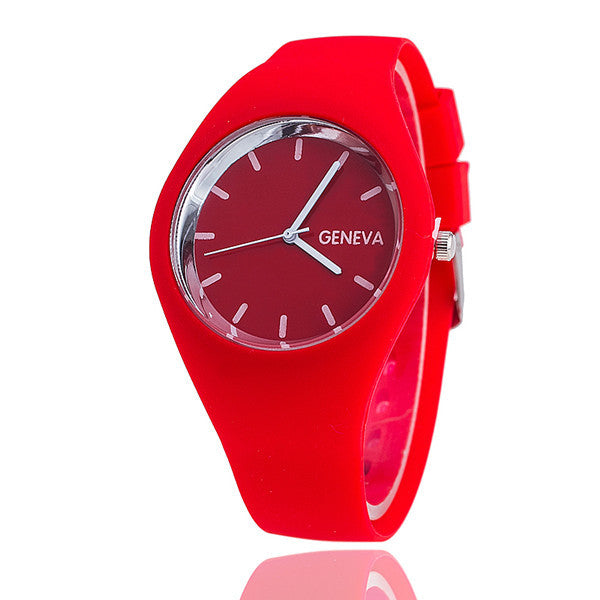 Colorful Sleek Thin Silicon Band Watch Bright Colored Wristwatch Women Girls