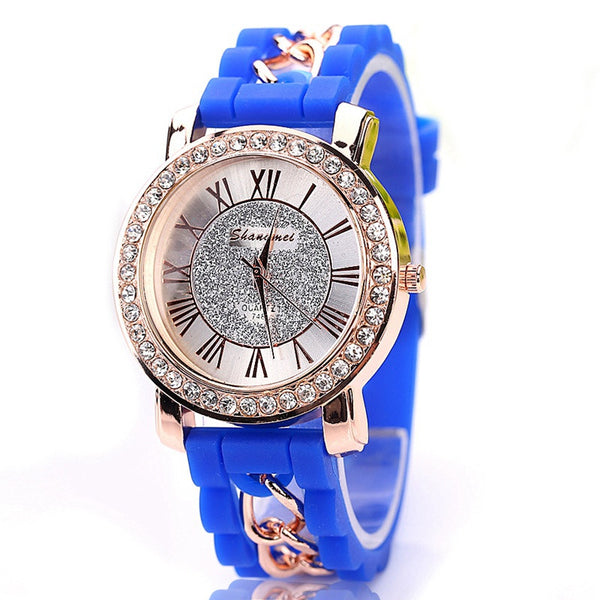Fashion Silicon Gold Chain Watch Crystal Embellished