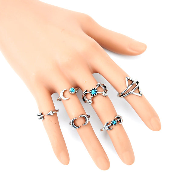 Bohemian Midi 6pc Ring Set Moon Arrow and Ethnic Design Knuckle Rings