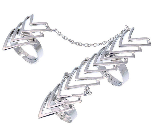 Arrows Two Finger Rings Chain Link Knuckle Ring