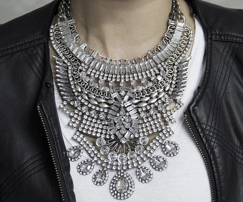 Slay Accessories. Silver and crystal chain statement necklace.
