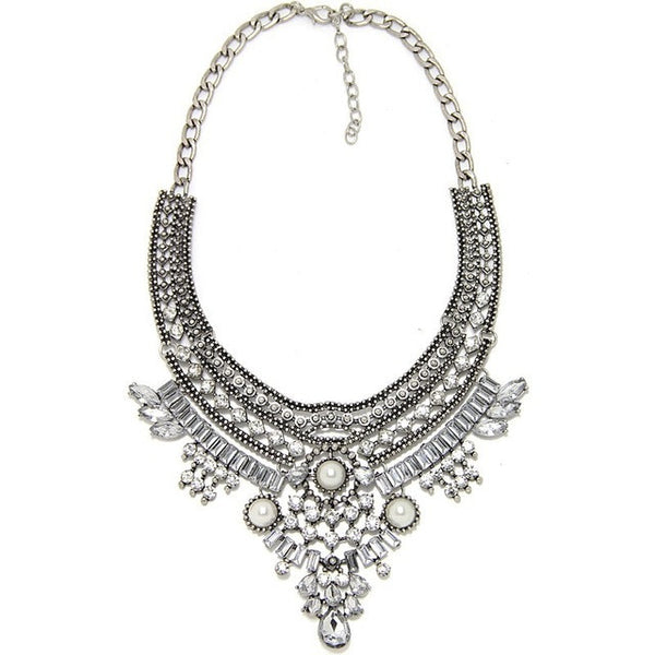 Crystal Silver Chains Metal Bib Choker Pendant Collar Necklace