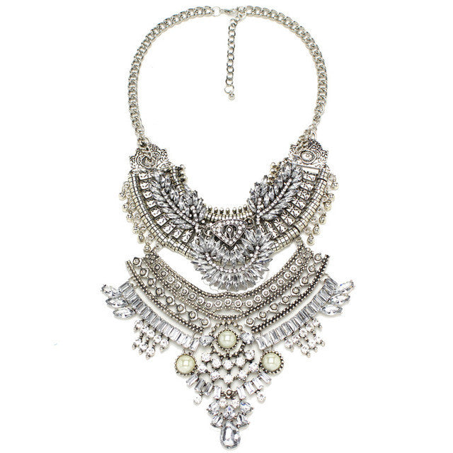Statement Chunky Crystal Chains Collar Bib Necklace