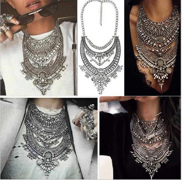 Chains Crystal Bib Choker Collar Necklace Silver Statement Pendants