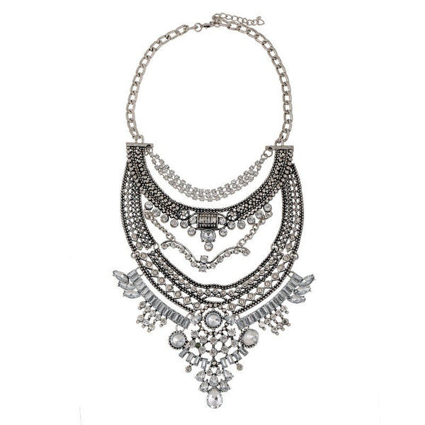 Collar Crystal Silver Chains Bib Necklaces Statement Choker Boho Style