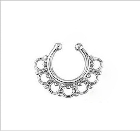 Ornate Gold Metal Nose Ring Silver Septum Nose Hoop