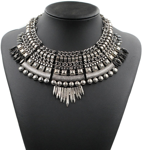 Fashion Chunky Collar Bib Spike Choker Pendant Silver with Gunmetal Stone Accents