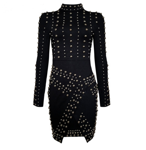 Slay Accessories silver studded dress. Black dress accented with heavy studding.