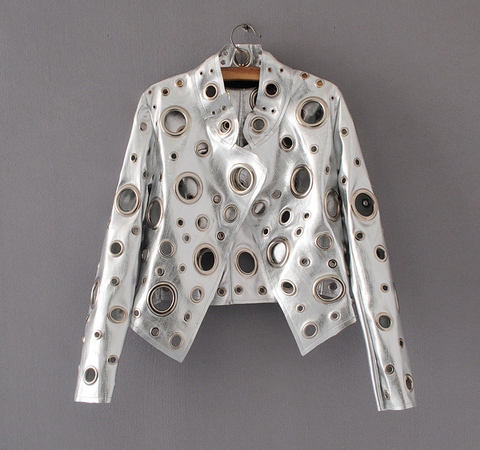 Slay Accessories. Silver leather jacket accented with silver metal grommets.