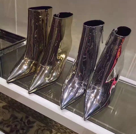 Slay Accessories. Silver metallic ankle boots. Silver mirror boots. Gold mirror boots.