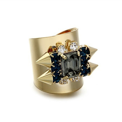 Fashion Square Crystal and Spike Wide Face Ring
