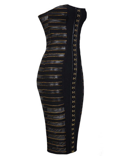 Slay Accessories black and gold strapless midi dress.
