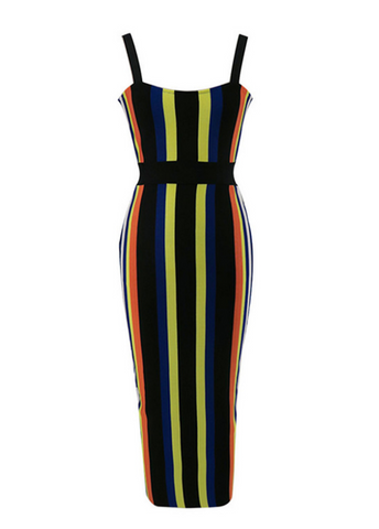 Slay Accessories. Color stripe bandage midi dress.