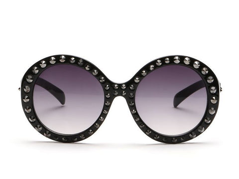 Metal Studded Round Frame Sunglasses Designer Style Ornate Sun Glasses