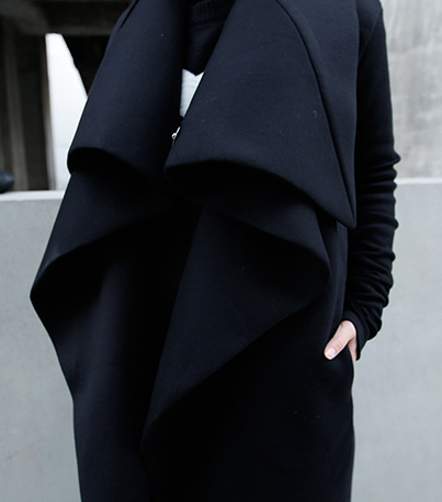 Slay Accessories. Black large collar coat. Modern black  jacket with large lapels.