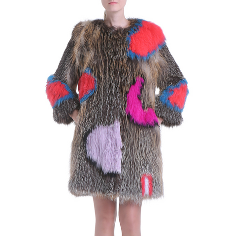 Slay Accessories. Colorful sweater fur over coat.