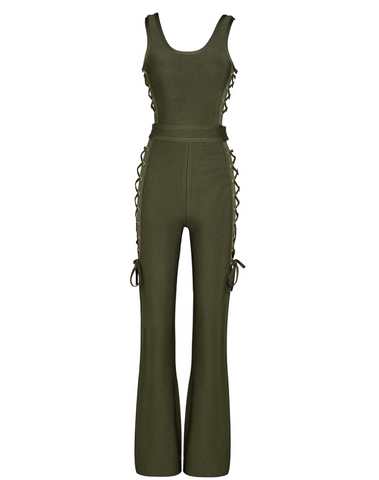 Slay Accessories olive green flare leg jumpsuit with side tie up design.