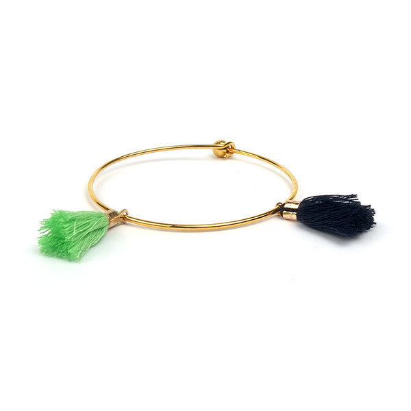 Colorful Tassels Gold Knot Bangle