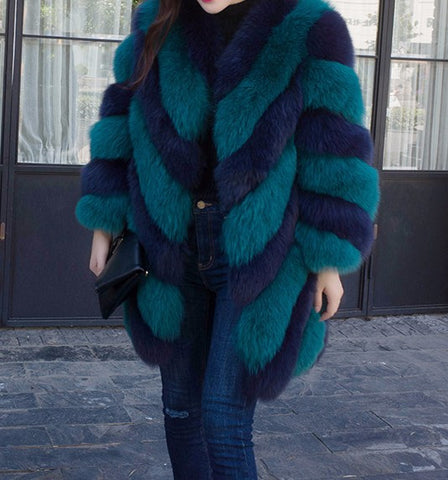 Slay Accessories. Teal and blue fox fur coat. Chevron fox fur coat.