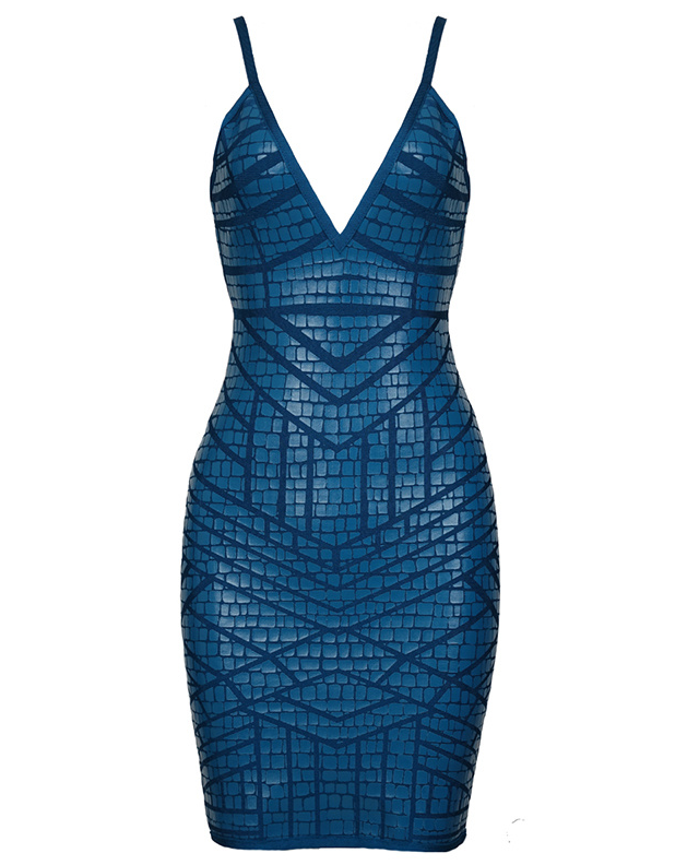 Slay Accessories. Teal printed bandage dress.