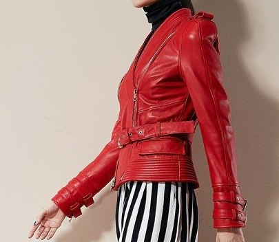 Tiyanna Red Leather Jacket