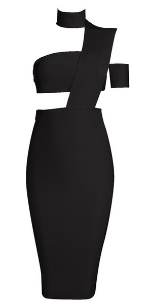 Torih Black Band Dress
