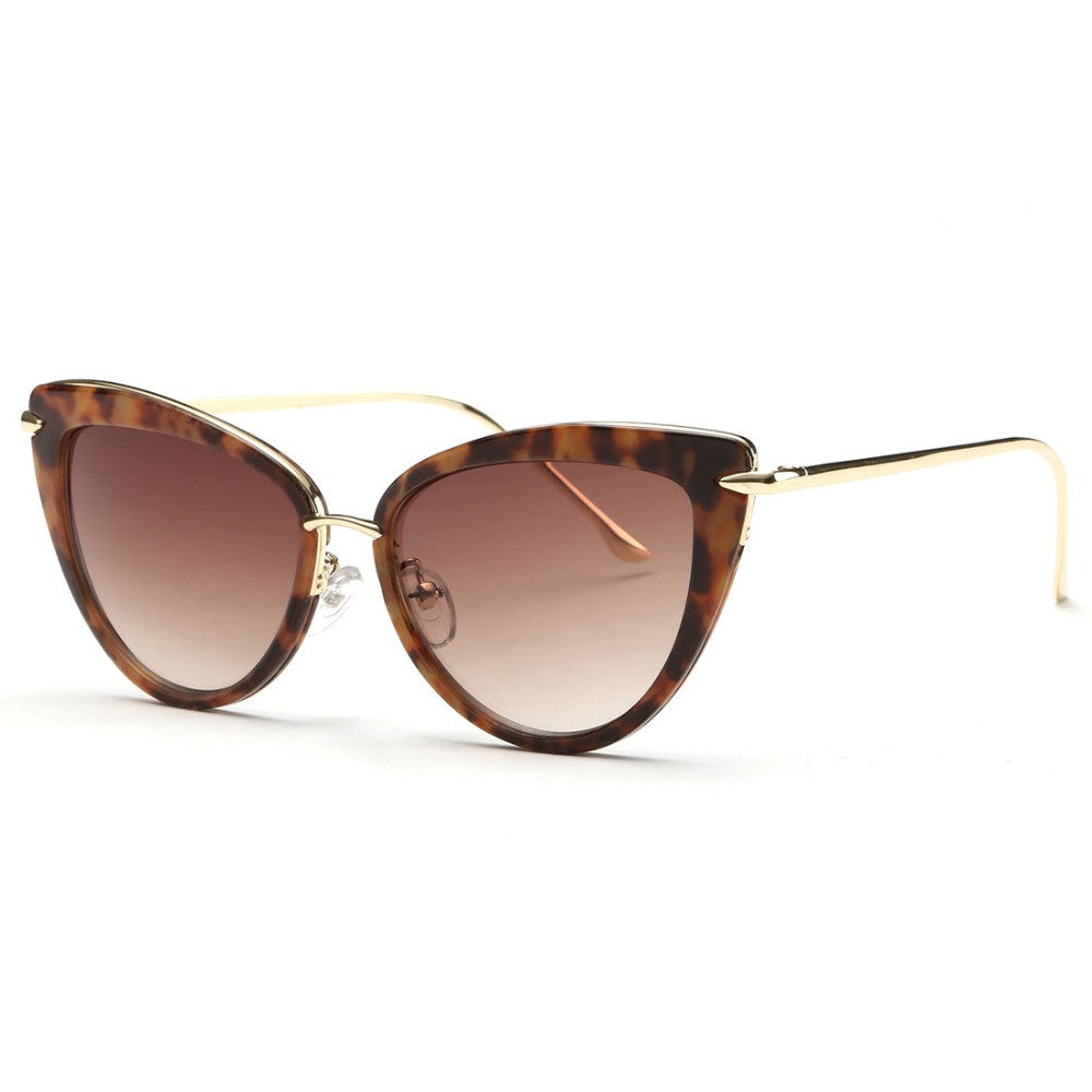 Fashion Designer Style Cat Eyes Frame Mirror Lenses Sunglasses with Metal Accents Retro Sun Glasses