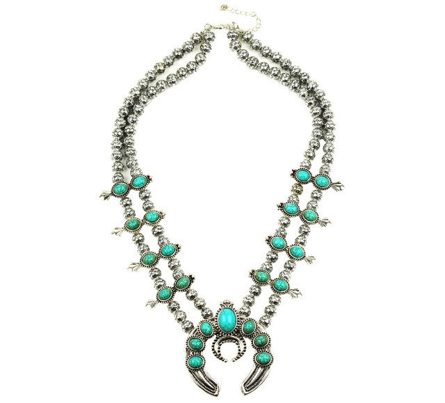 Turquoise Antique Silver Statement Amulet Collar Bead Necklace