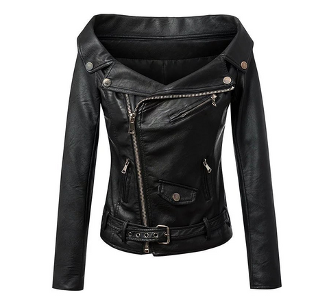 Slay Accessories. Off the shoulder leather jacket. vegan leather motorcycle jacket. Vegan leather jacket.