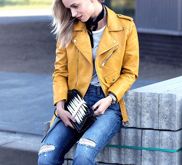 Slay Accessories. Yellow leather motorcycle jacket. Yellow leather biker jacket.