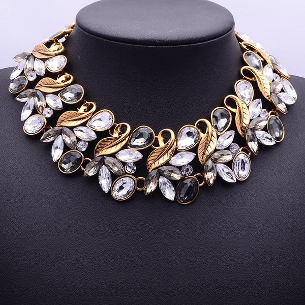 Vintage Collar Fashion Choker Multi-Color Leaf Crystal Statement Necklaces