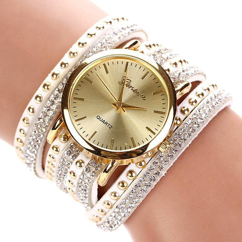 Fashion Multi Band Rhinestone Stud Bracelet Watch Women Band Wristwatch