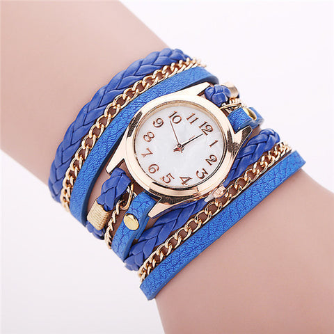 Fashion Faux Leather and Chains Wrap Bracelet Watch Women Fashion Wristwatch
